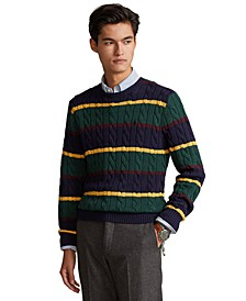 Men's Striped Cable-Knit Cotton Sweater
