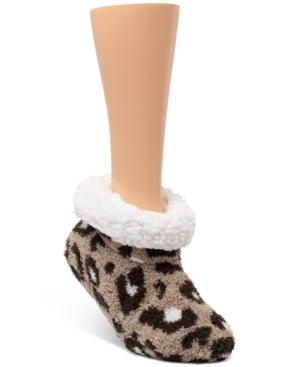 Faux-Fur-Lined Leopard Slipper Socks