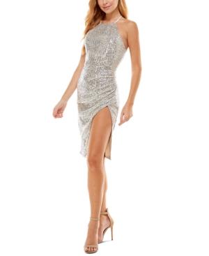Sequined Side-Slit Dress