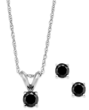 Black Diamond Jewelry Set in 10k White