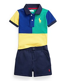 Baby Boys Big Pony Polo Shirt and Fleece Shorts, 2 Piece Set