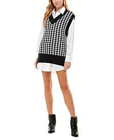 Juniors' Layered-Look Sweater Dress