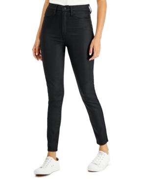 Juniors' High Rise Coated Skinny Jeans