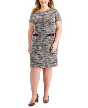 Plus Size Welt-Pocket-Detail Sheath Dress