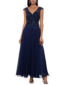 Petite Embellished-Bodice Chiffon Gown