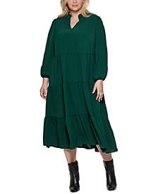 Plus Size Tiered Split-Neck Dress