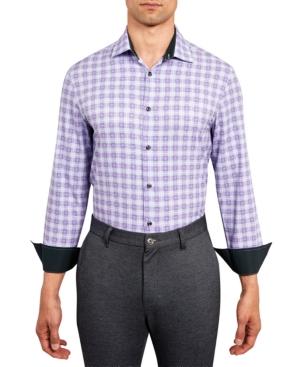 Con. Struct Men's Slim-Fit Performance Stretch Allover Plaid Print Dress Shirt