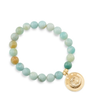 Faceted Amazonite Seas The Day Gemstone Bracelet with Wave Pendant