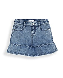 Little Girls Ruffle Hem Denim Skirt