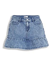 Big Girls Ruffle Hem Denim Skirt