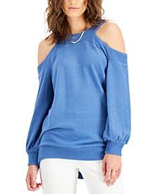 Ribbed Cold-Shoulder Sweatshirt