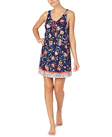 Contrast Floral-Print Chemise Nightgown
