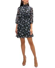 Midnight Floral Chiffon A-Line Dress