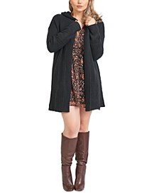 Plus Size Hooded Textured Cardigan