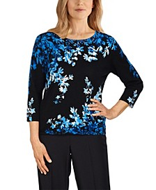 Petite Battery Park Asymmetric Flowers Sweater