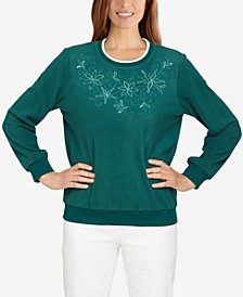 Petite Classics Yoke Floral Embroidered Pullover Top