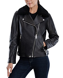 Petite Leather Faux-Fur-Collar Jacket