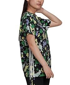 Women's Cotton Floral-Print T-Shirt