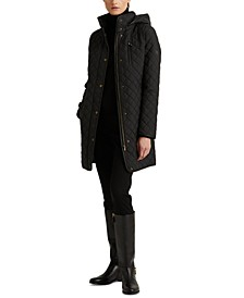 Petite Faux-Suede-Trim Quilted Coat, Created for Macy's