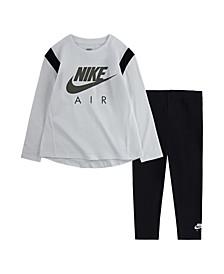 Toddler Girls Long Sleeve Jersey T-shirt and Legging Set, 2 Piece