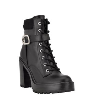 Women's Slythe Heeled Platform Lace Up Lug Sole Booties Women's Shoes