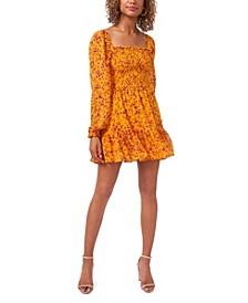 Square Neck Smocked Bodice Dress
