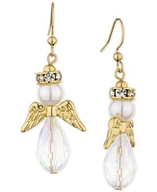 Gold-Tone Pavé, Imitation Pearl & Bead Angel Drop Earrings, Created for Macy's
