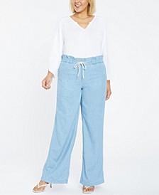 Plus Size Chambray Wide Leg Pants with Ruffled Drawstring