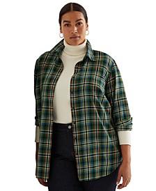 Plus-Size Plaid Cotton Twill Shirt
