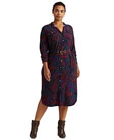 Plus-Size Paisley Belted Jersey Shirtdress