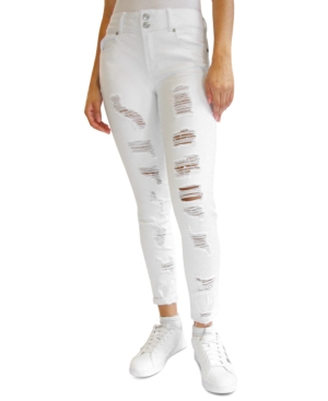 Crave Fame Juniors' Ripped Roll-Cuff Skinny Jeans