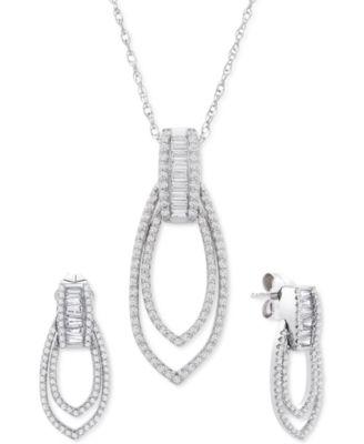 Diamond (1/2 ct. t.w.) Earrings in 14k White Gold, Created for Macy's