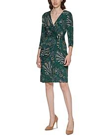 Paisley-Print Faux-Wrap Dress