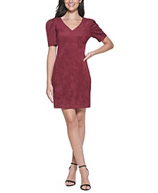 Puff-Sleeve Faux-Suede Sheath Dress