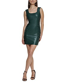 Side-Ruched Faux-Leather Sheath Dress