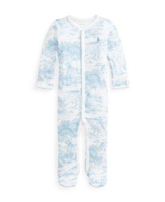 폴로 랄프로렌 Polo Ralph Lauren Baby Boys Toile-print Interlock Coverall One Piece,Blue Toile