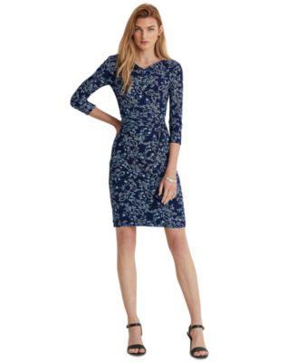 로렌 랄프로렌 Lauren Ralph Lauren Paisley Twisted-Knot Jersey Dress,Twilight Royal/blue/multi
