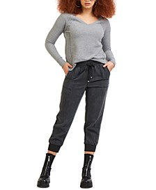 High-Waisted Pull-On Ankle Pants