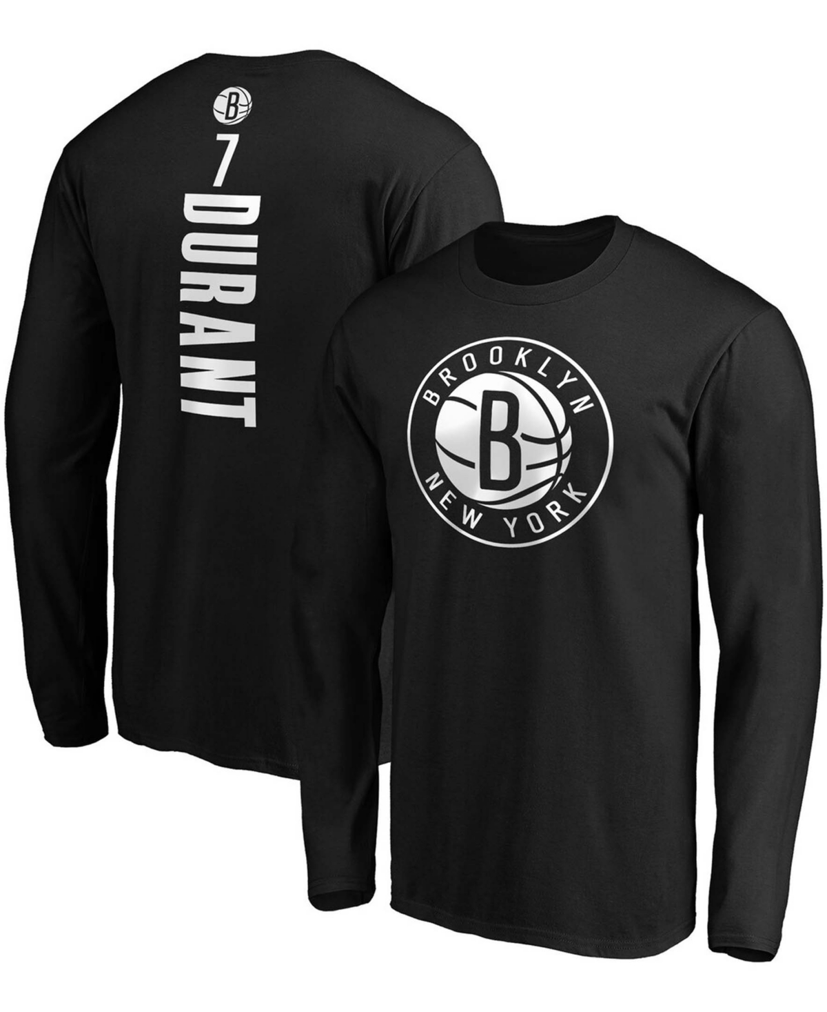 Men's Kevin Durant Black Brooklyn Nets Team Playmaker Name and Number Long Sleeve T-shirt