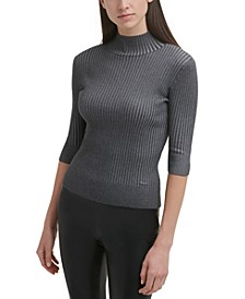 Elbow-Sleeve Mock Neck Sweater