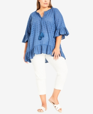 Plus Size Broderie Frill Top