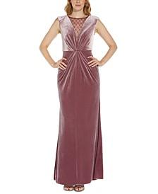 Beaded-Trim Velvet Dress