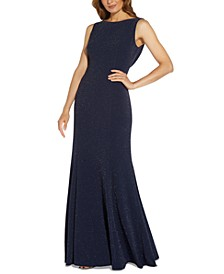 Glitter Cowl-Back Gown