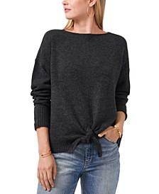 Tie-Hem Boat-Neck Sweater
