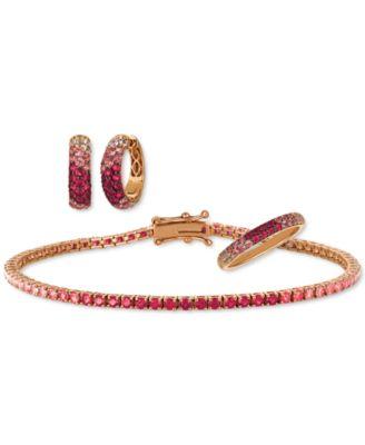 Strawberry Layer Cake Multi-Gemstone (1/2 ct. t.w.) Ring in 14k Rose Gold