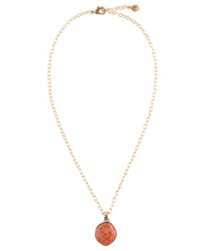 Women's Legend Faux Bronze and Orange Sponge Coral on Chain Necklace
