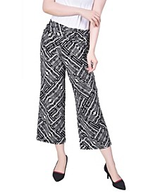 Women's Cropped Pull On with Faux Belt Pants