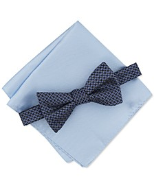 Men's Mini Neat Pre-Tied Bow Tie & Solid Pocket Square Set, Created for Macy's