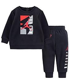 Little Boys Air Fleece Crew Sweatshirt and Pants, 2 Piece Set