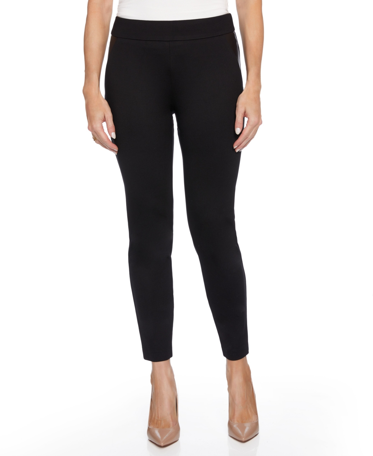 Women's Mixed Media Skinny Leg with Faux Leather Inset Pants